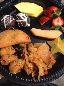 Delicious food prepared by the zoo caterers!
